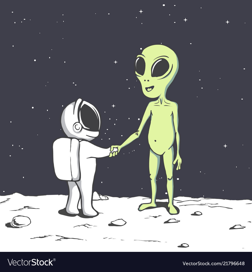 Meeting of an alien and an astronaut in space