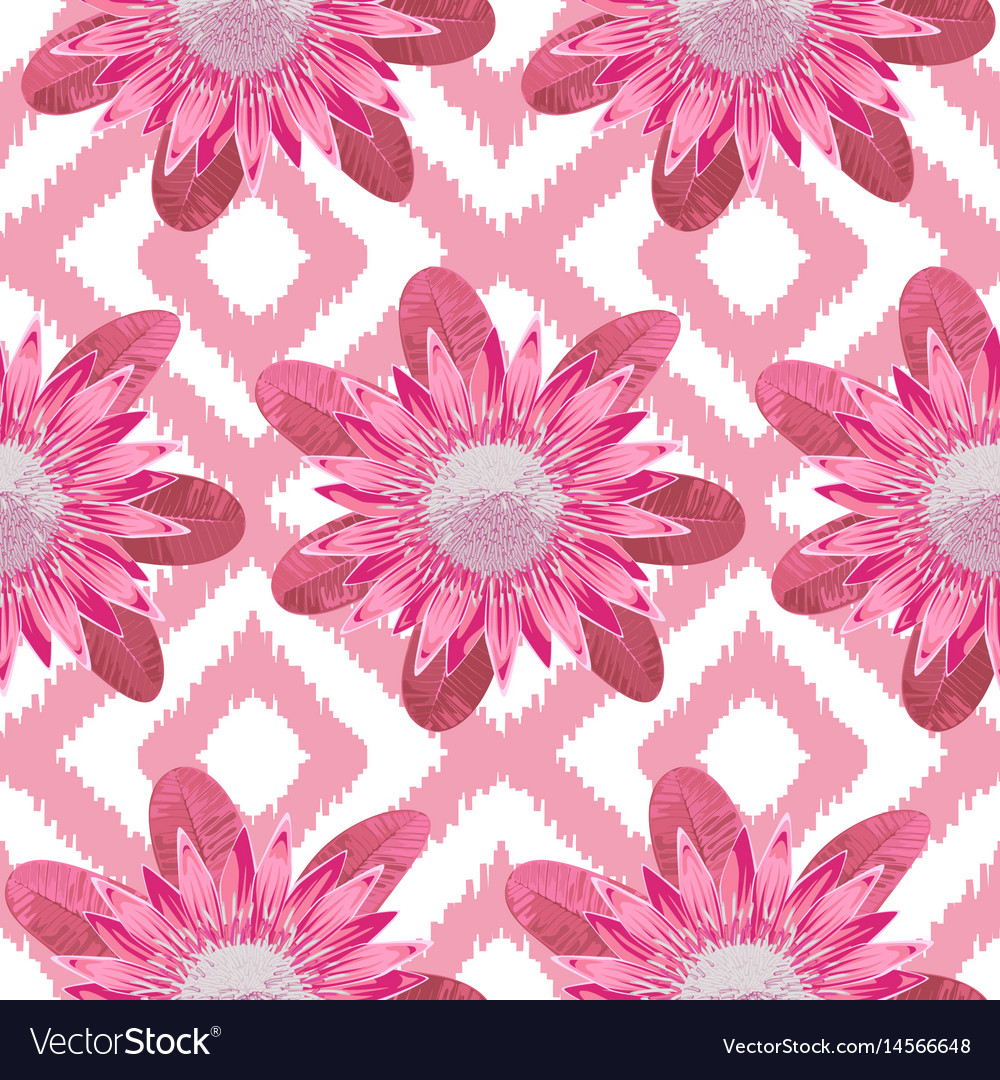 Pink Protea Boho Seamless Pattern Royalty Free Vector Image