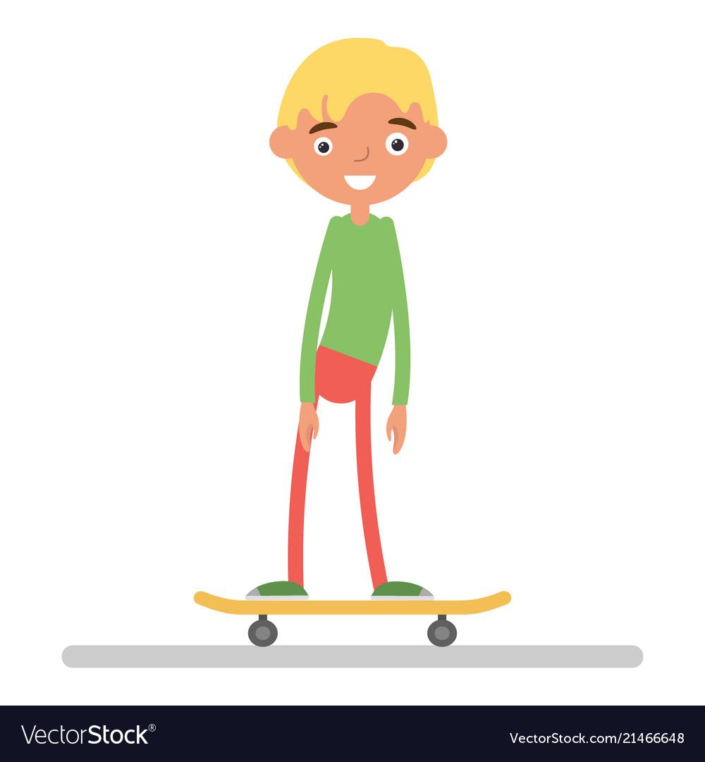 The boy on skateboard flat