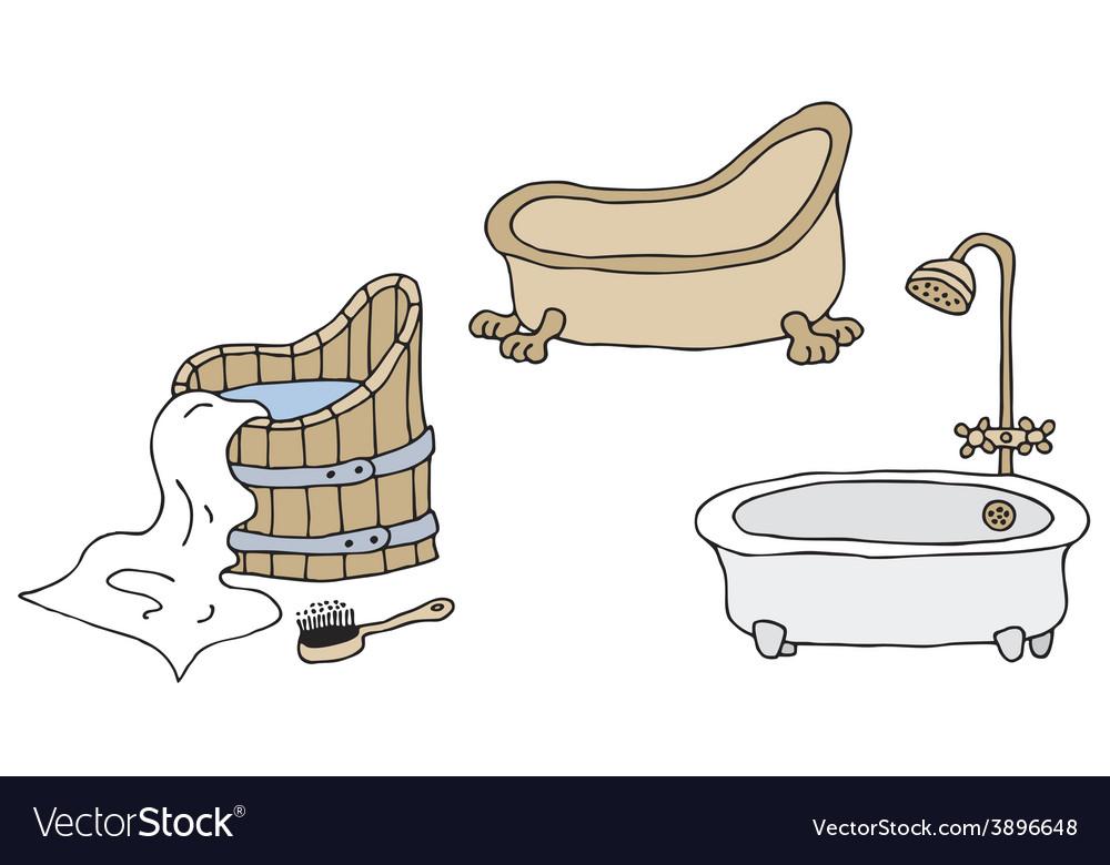 Vintage Bathtubs Vector Image