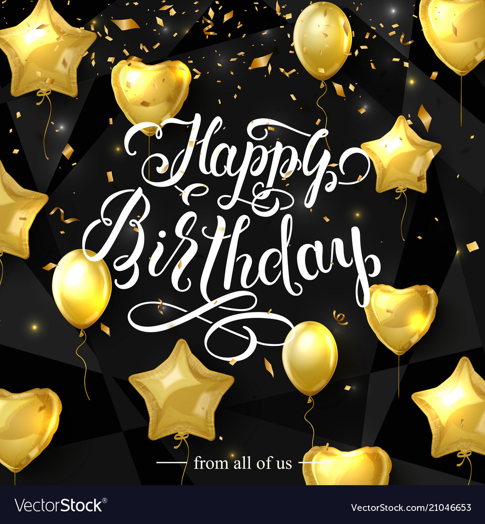 Birthday elegant greeting card with gold