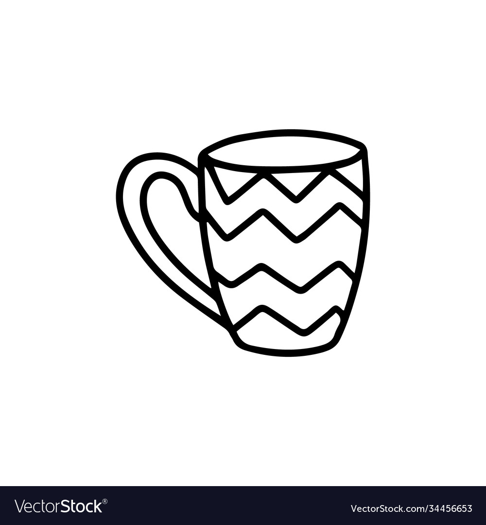 Cute Mug With Pattern Doodle Royalty Free Vector Image