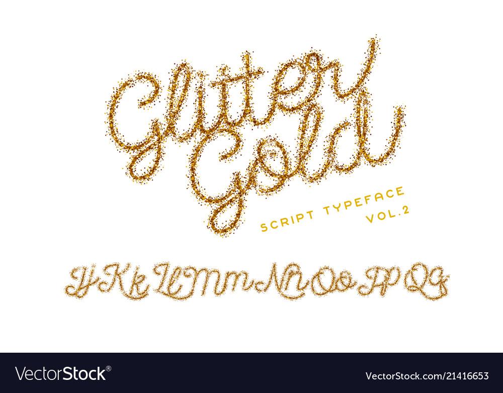Glitter gold handwritten alphabet