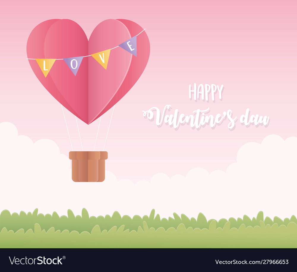 Happy valentines day origami paper air balloon Vector Image | 915x1000
