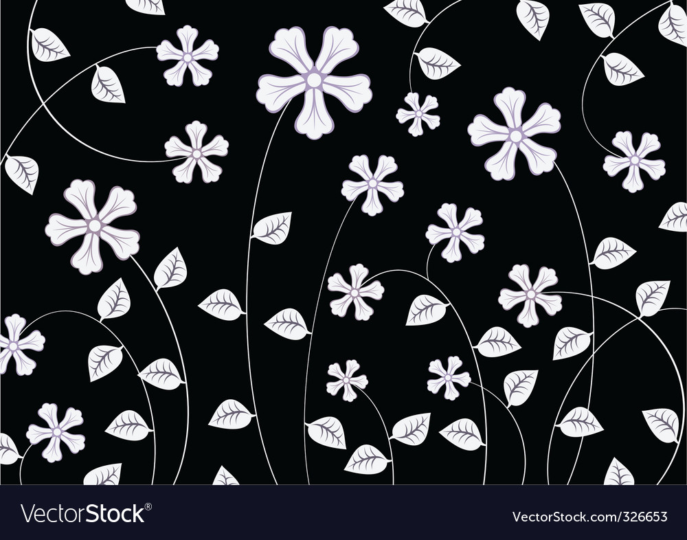 White funky flowers abstract pattern