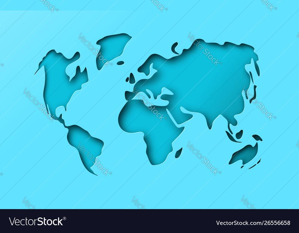 Blue paper cutout world map papercut concept