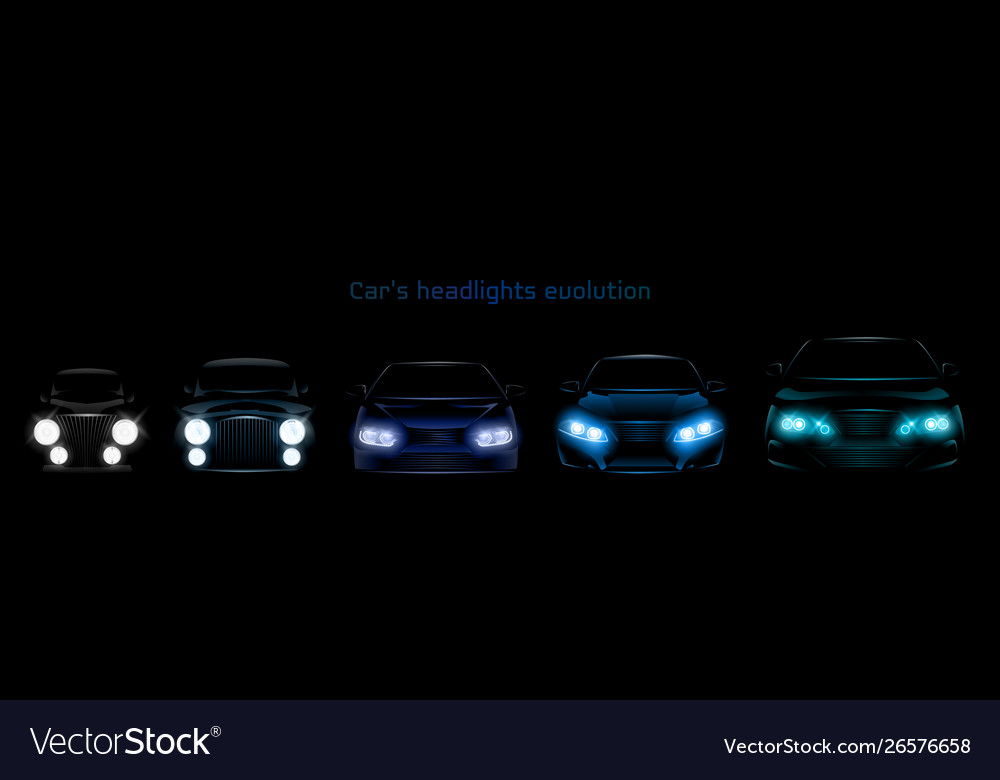 Car headlights evolution glowing front headlamps