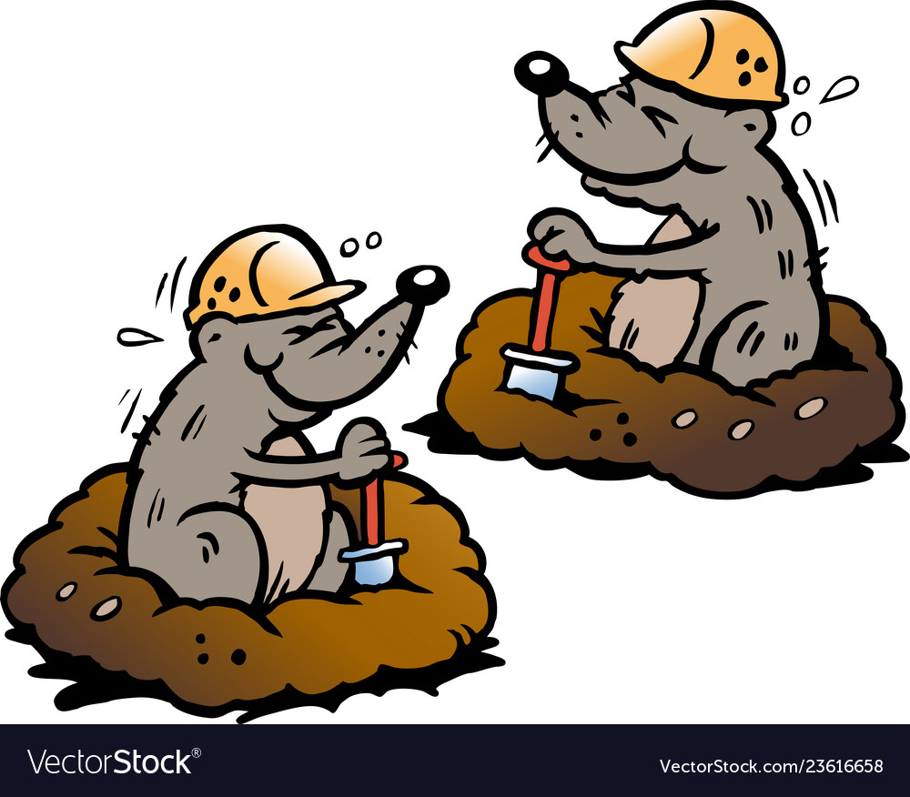 Cartoon of two mole digging holes in the ground
