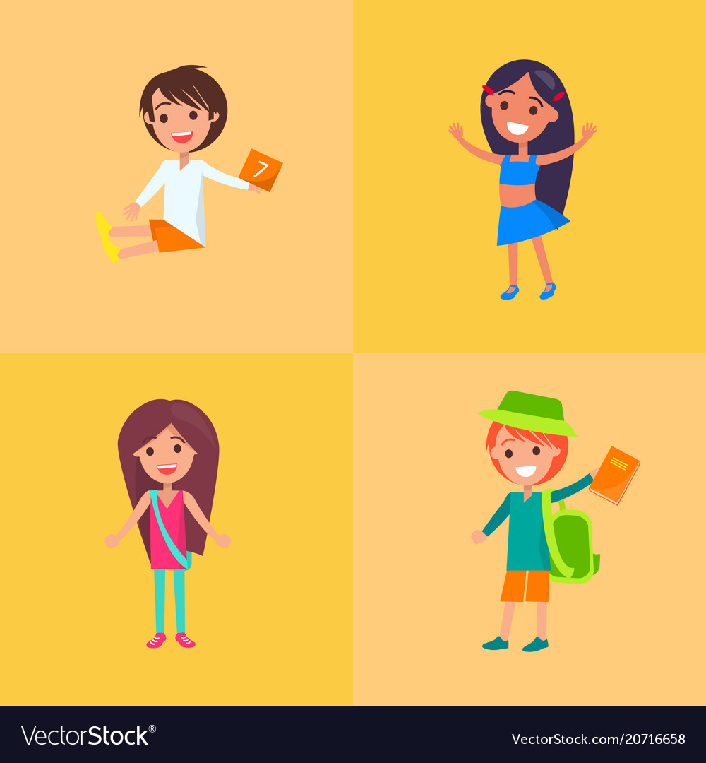 Children having fun collection of four vector image