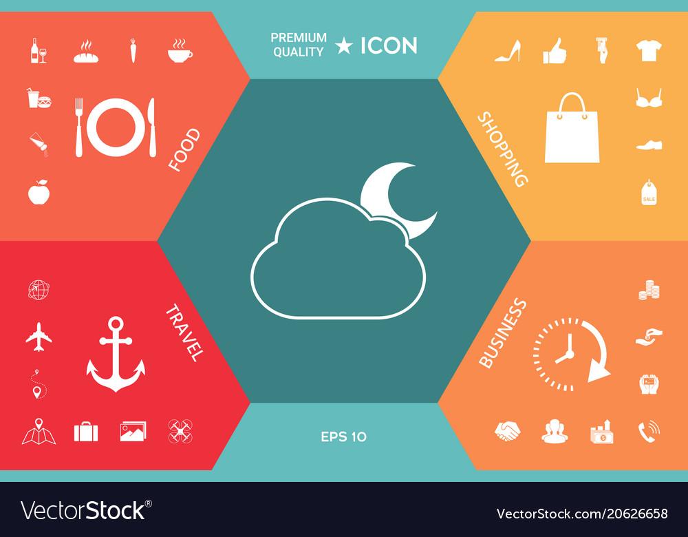 Cloud Moon Symbol Icon Royalty Free Vector Image