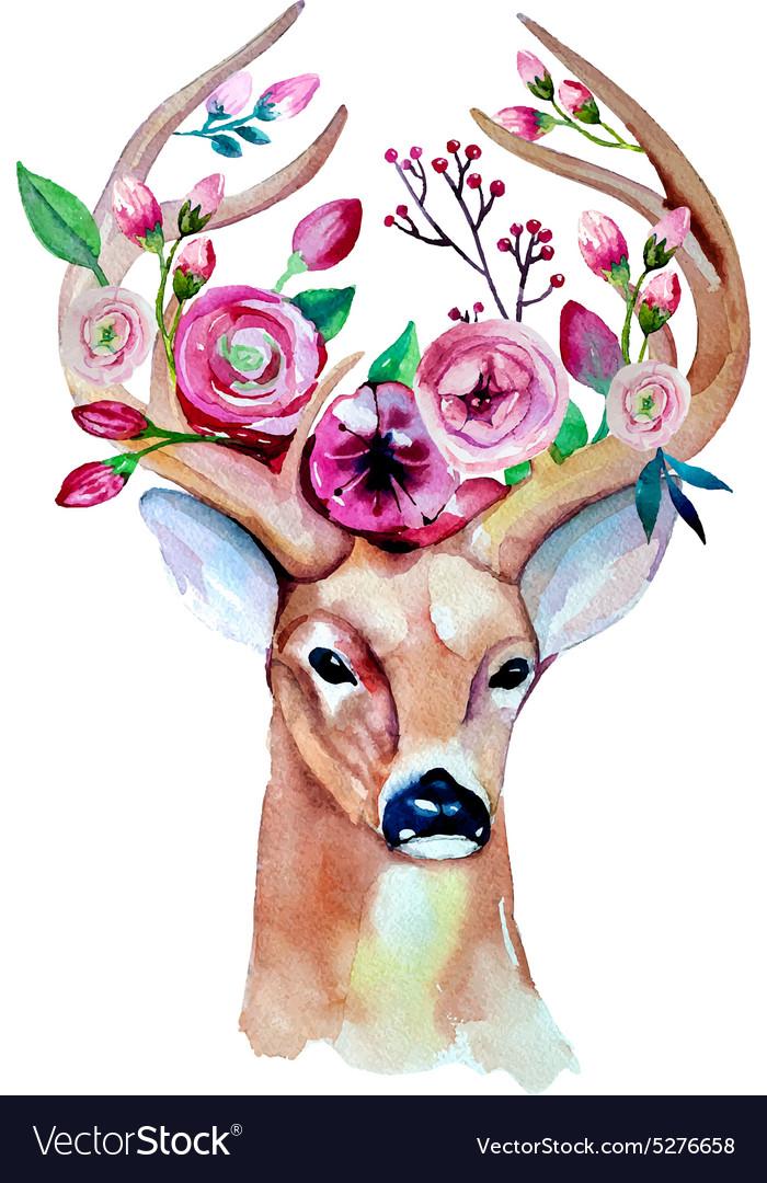 Deer watercolor Save the date eps 10 Wedding vector image