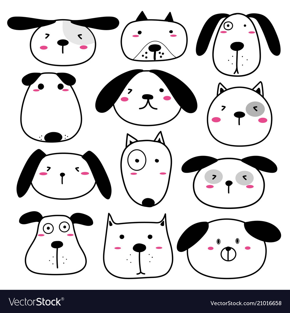 Hand drawn cute dog face characters set