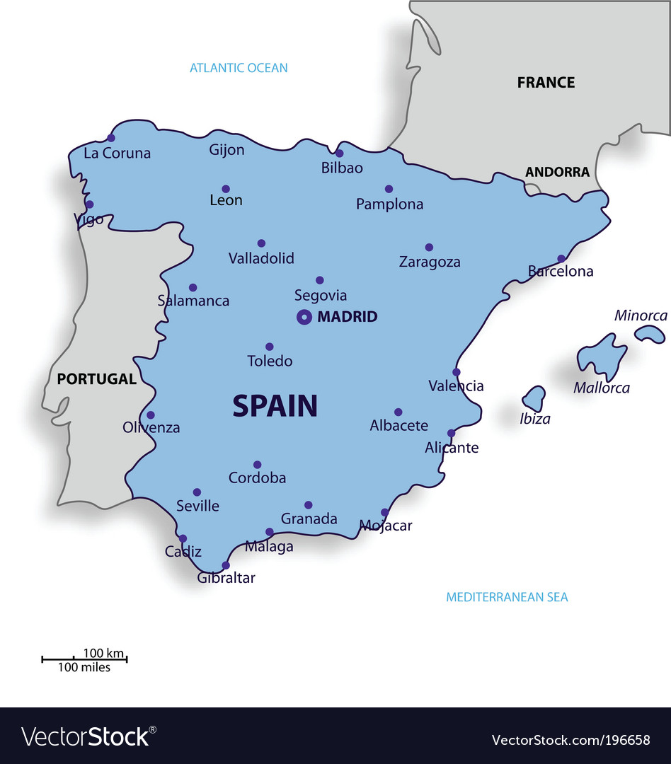 Map Of Spain Vector Free.Map Of Spain Vector Image