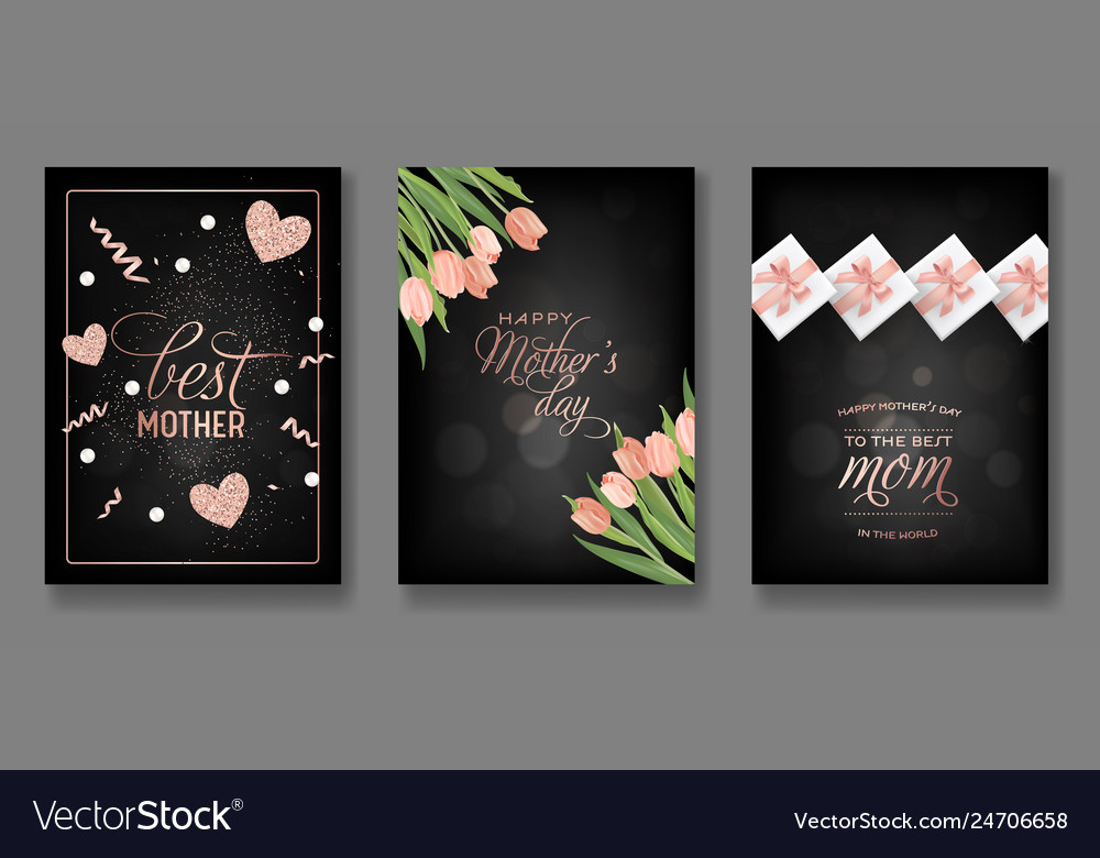 Mothers day greeting card design set happy mother