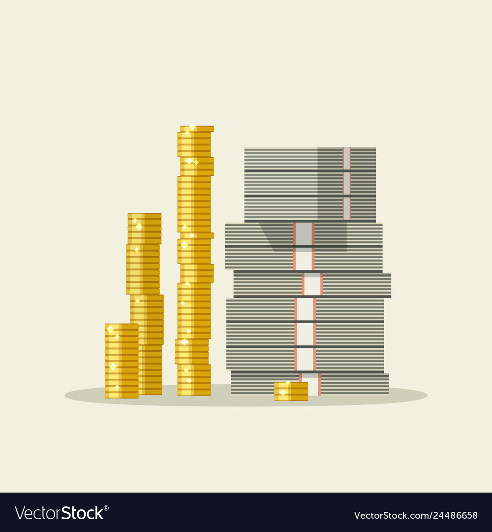 Piles dollars and coins