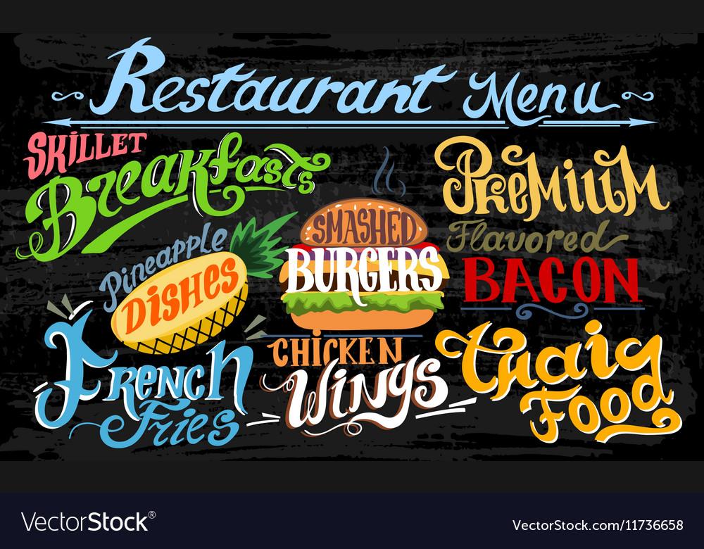 Retro vintage style fast food design lettering