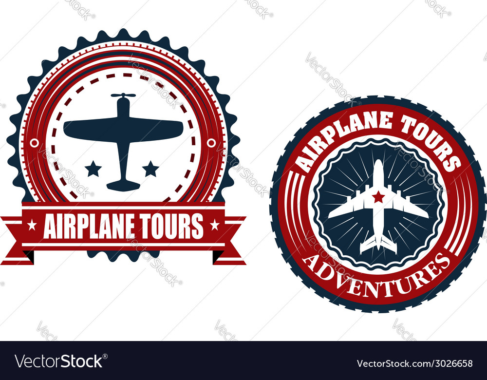 Round Airplane tours banners