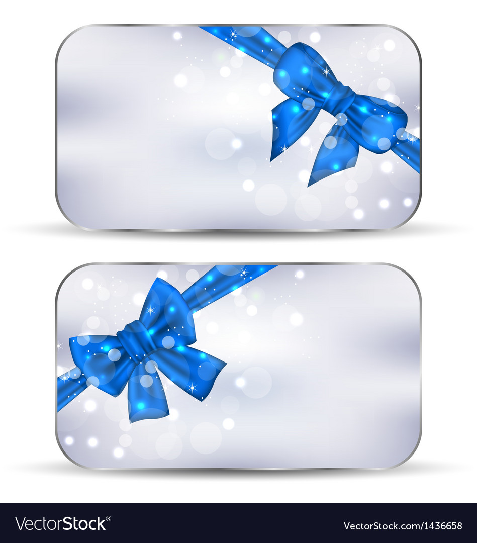 Set labels with blue gift bows isolated vector image