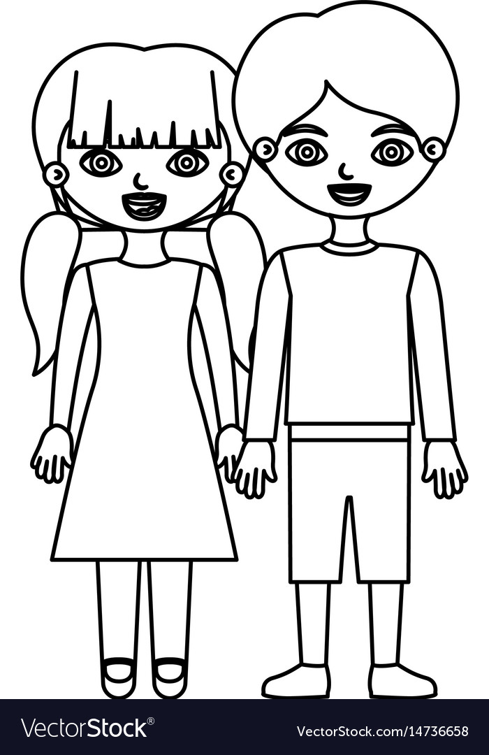 Sketch silhouette couple children with taken hands vector image