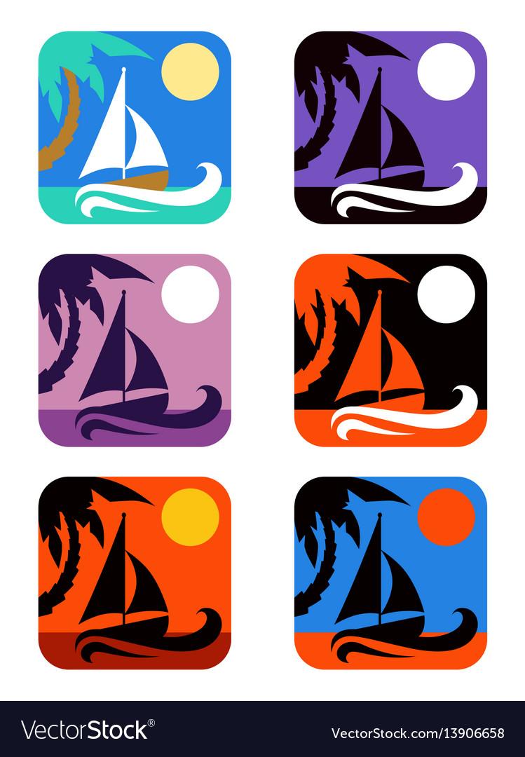Square icons set tropical emblems