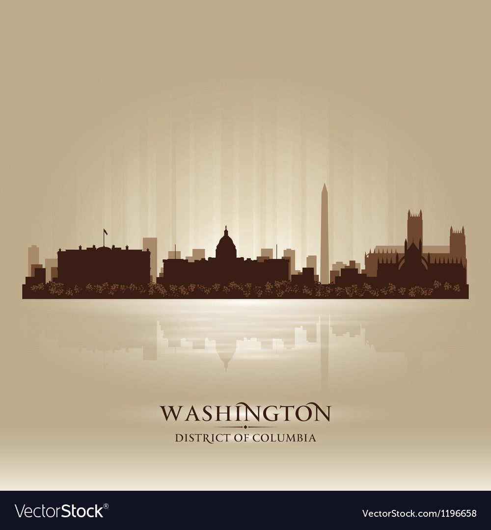 Washington District of Columbia skyline city silho vector image