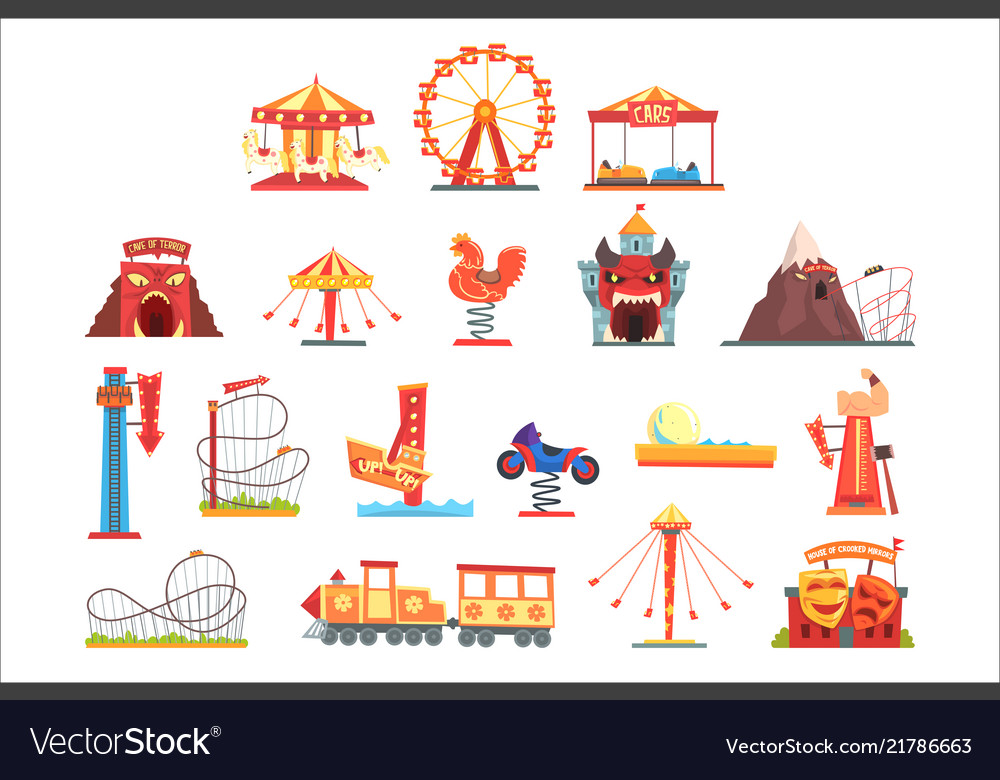 Amusement park elements set funfair attraction