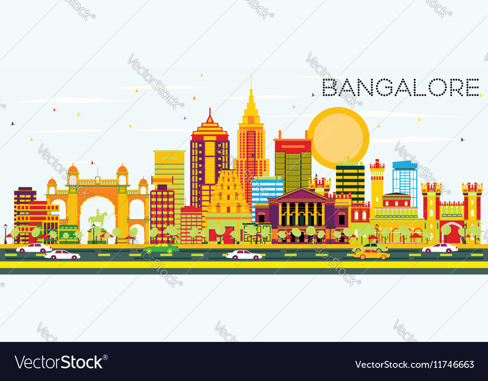 Bangalore Skyline with Color Buildings
