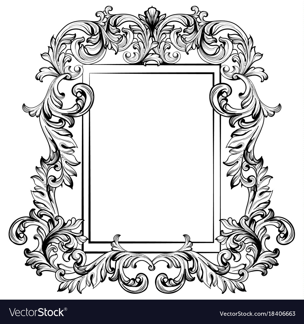 Baroque frame mirror decor for invitation wedding Vector Image