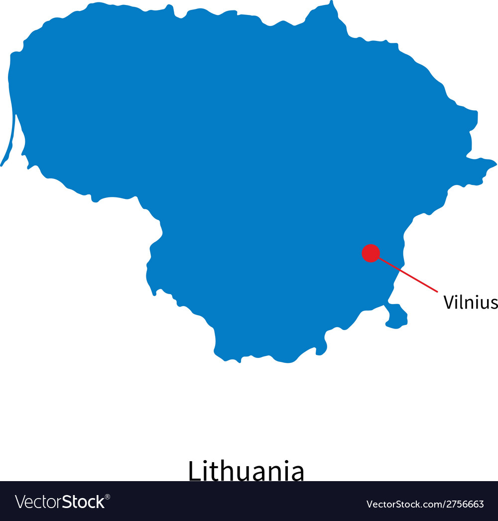 Detailed map of Lithuania and capital city Vilnius