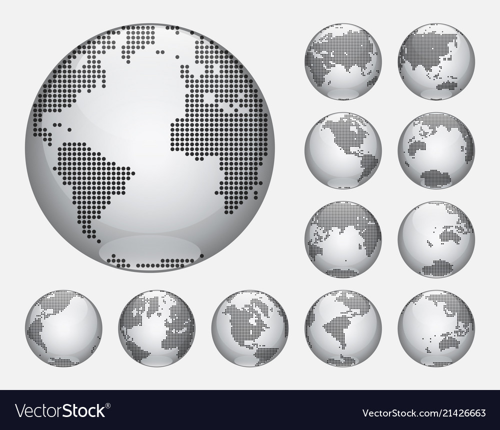 Dotted digital earth globes sets