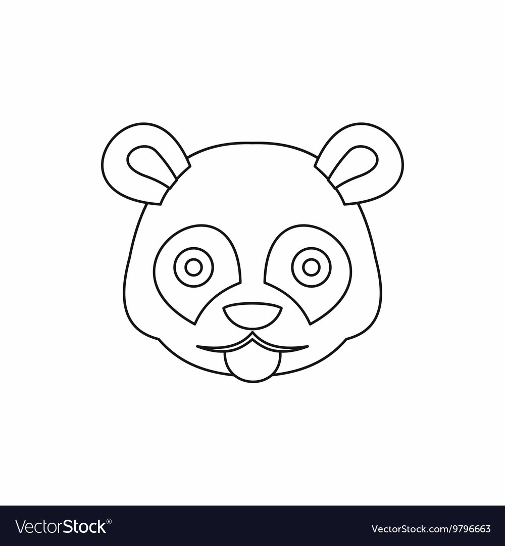 Head of panda icon outline style vector image