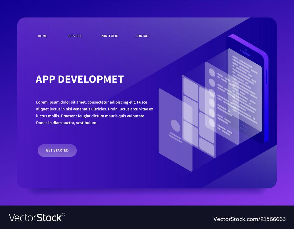Isometric app development landing page