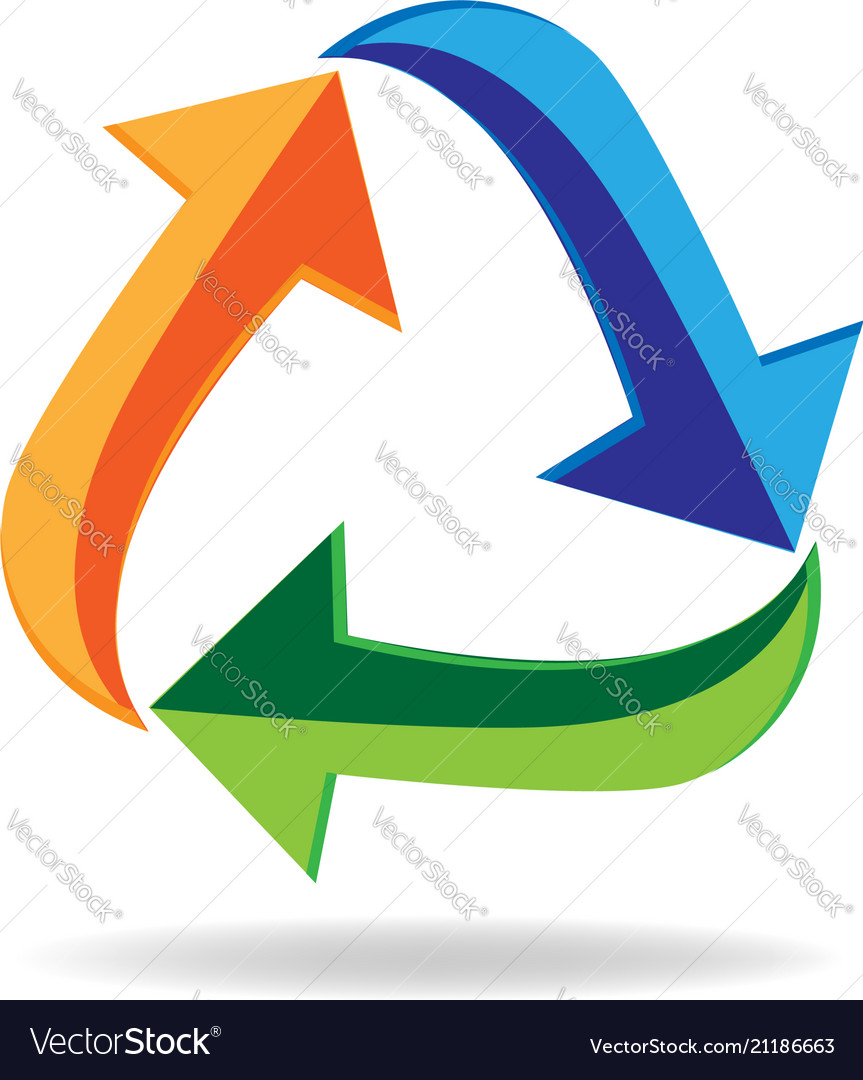 Logo recycle arrows business card symbol of reduce