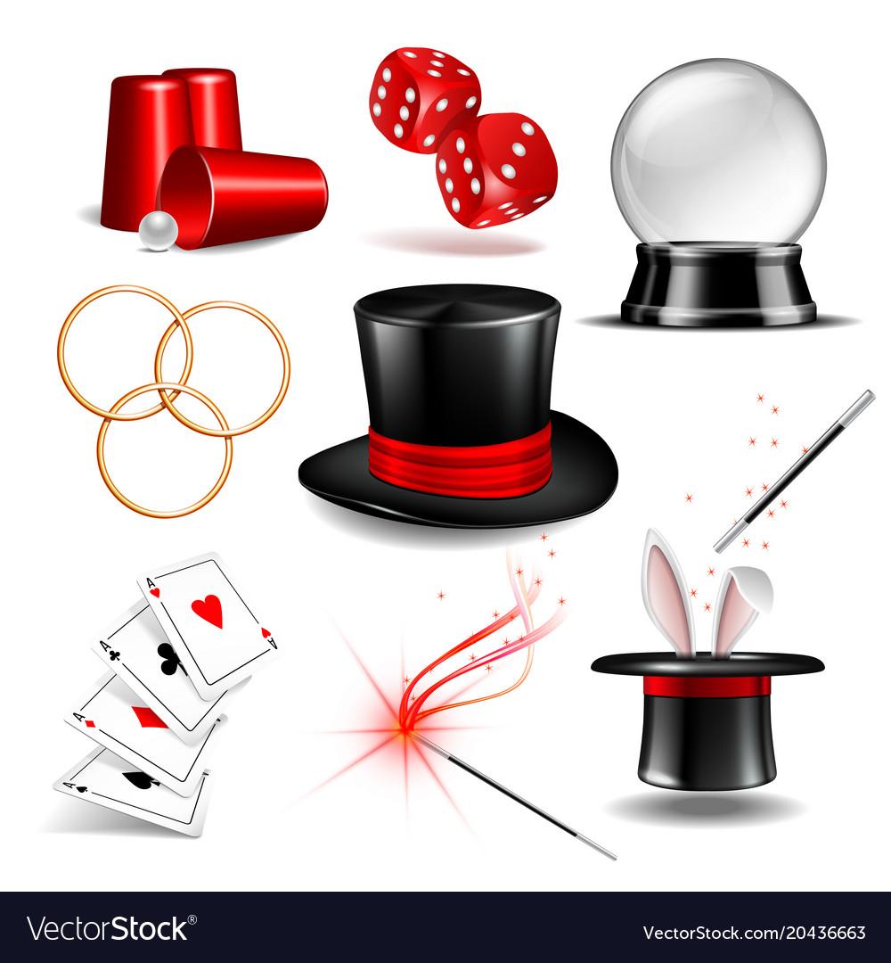 Magician symbol set vector image