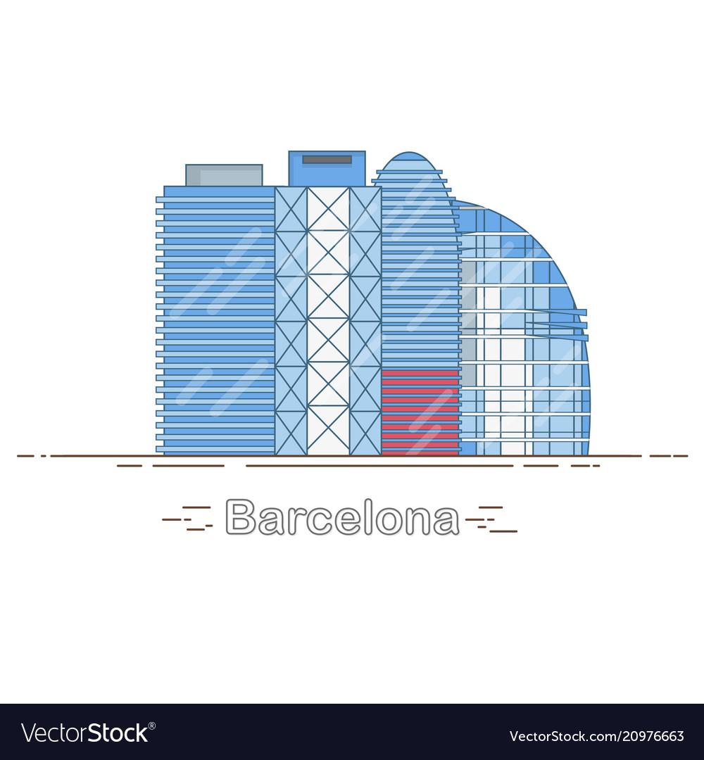 Minimal modern barcelona city linear skyline