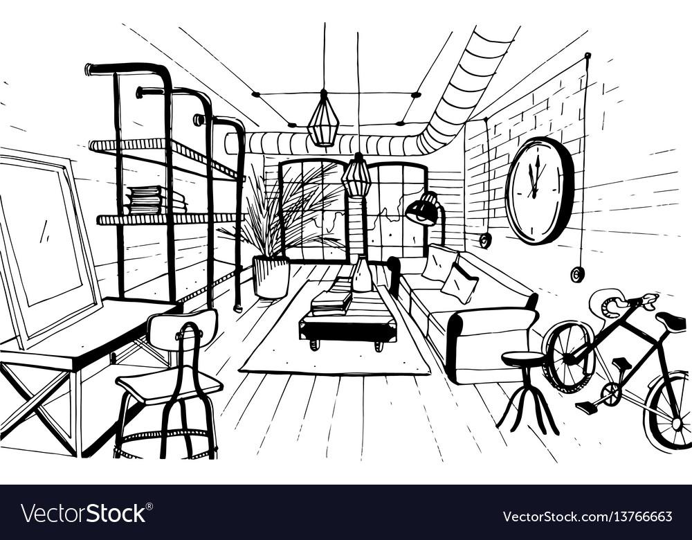 Modern living room interior in loft style hand