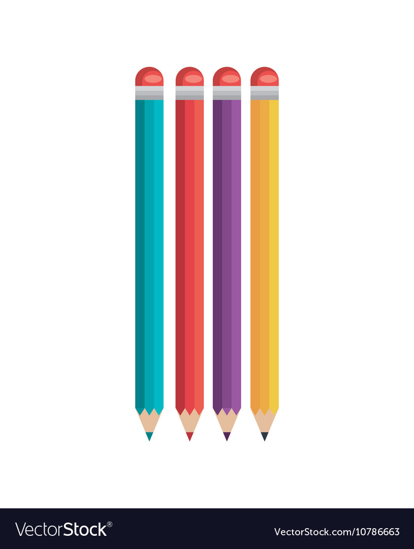Pencil four colored icons flat isolated vector image