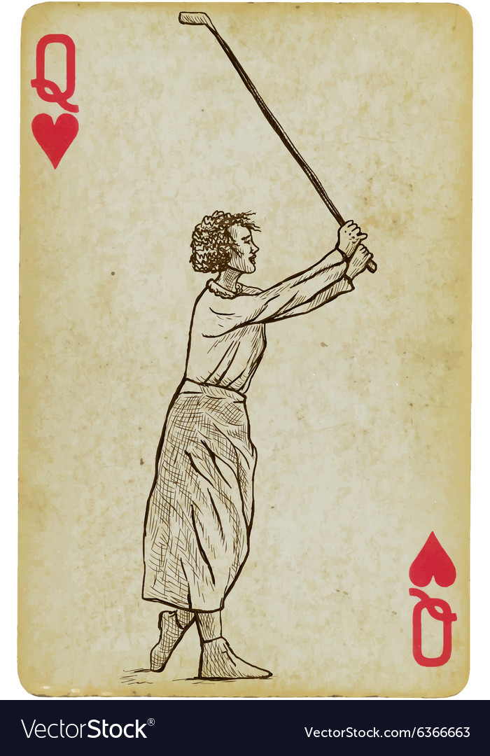 Playing Card Queen - Vintage Golfer an woman