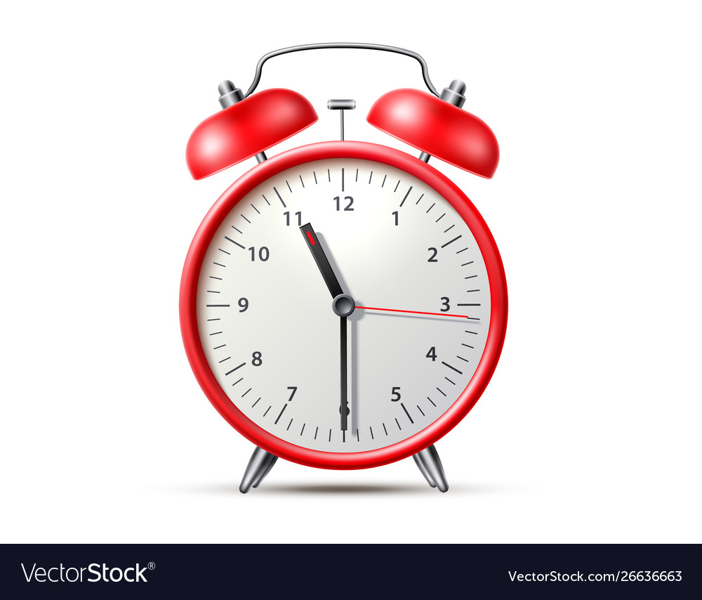 Red classic alarm clock with bell
