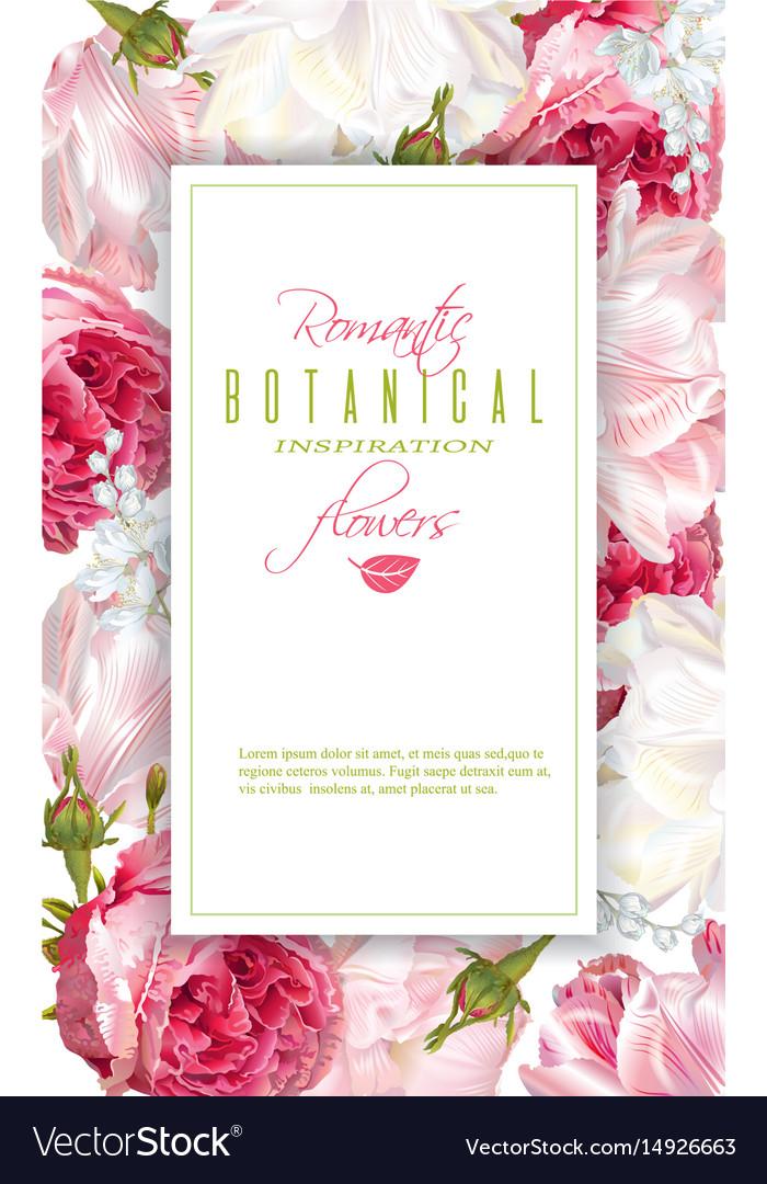 Romantic flowers vertical frame