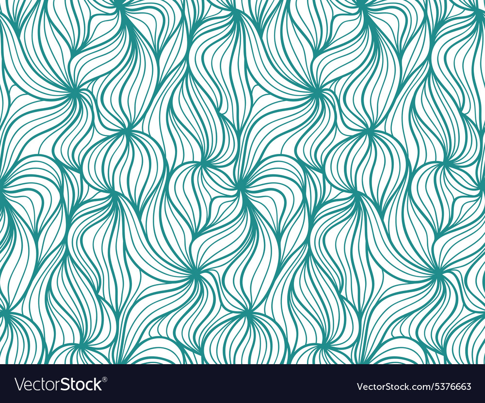 Seamless wave background of plants drawn