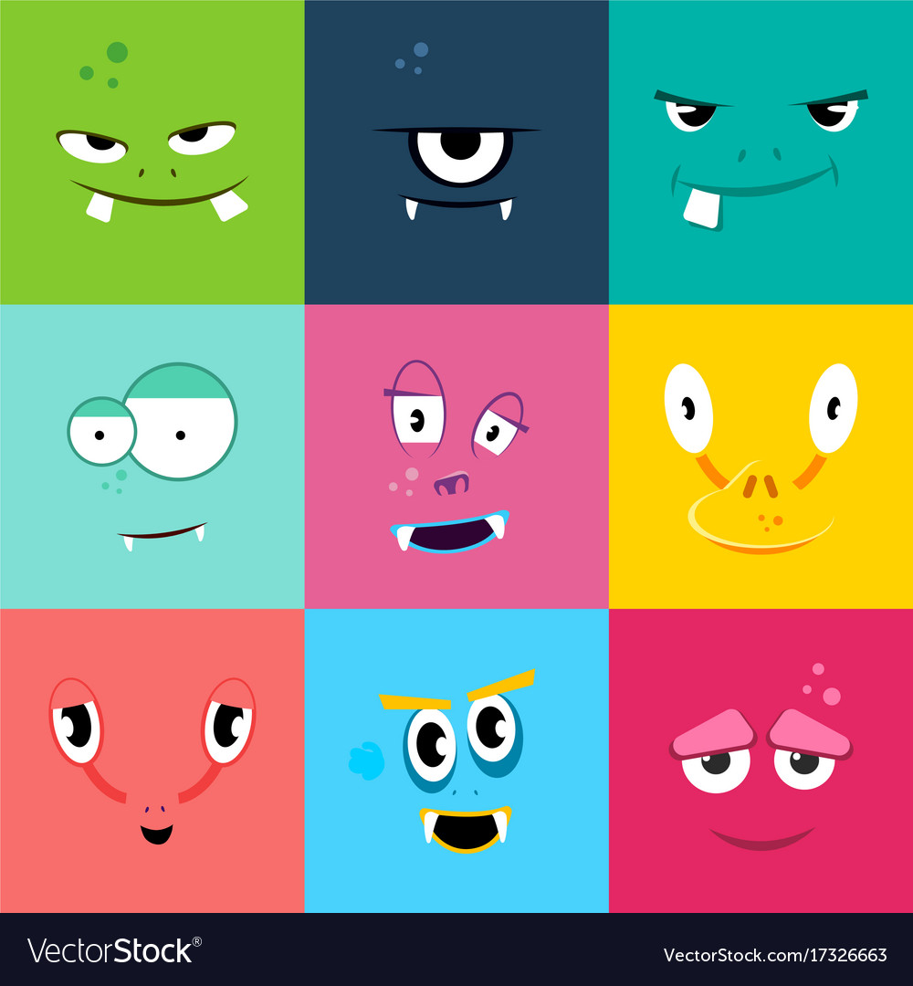 Set of cartoon monsters faces with different