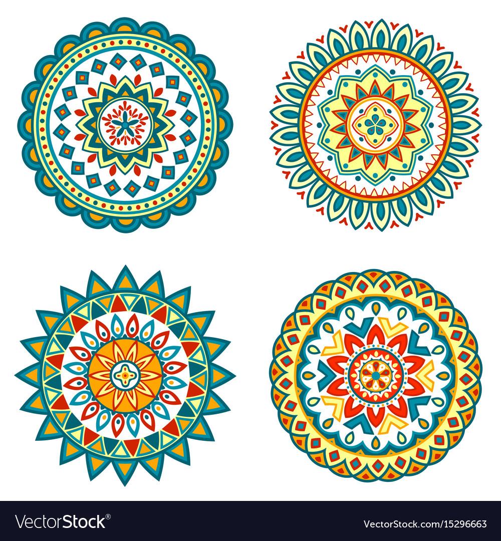 Set of colorful mandalas vector image