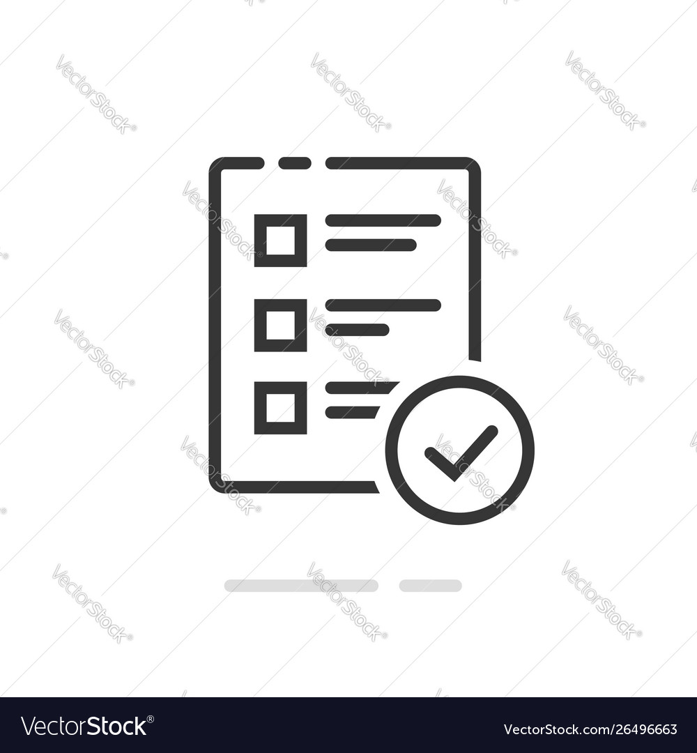 Survey or exam form paper sheet icon with answered