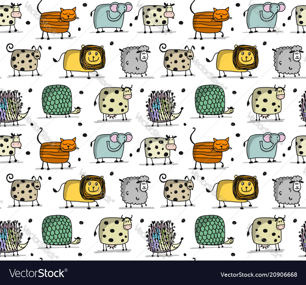 Funny animals seamless pattern for your design