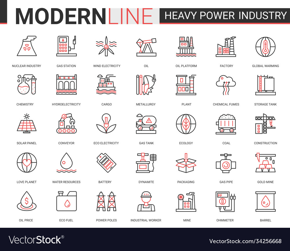 Heavy power industry flat thin red black line icon