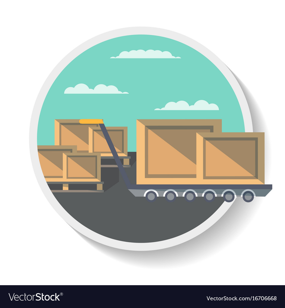Logistics icon with delivery boxes on truck