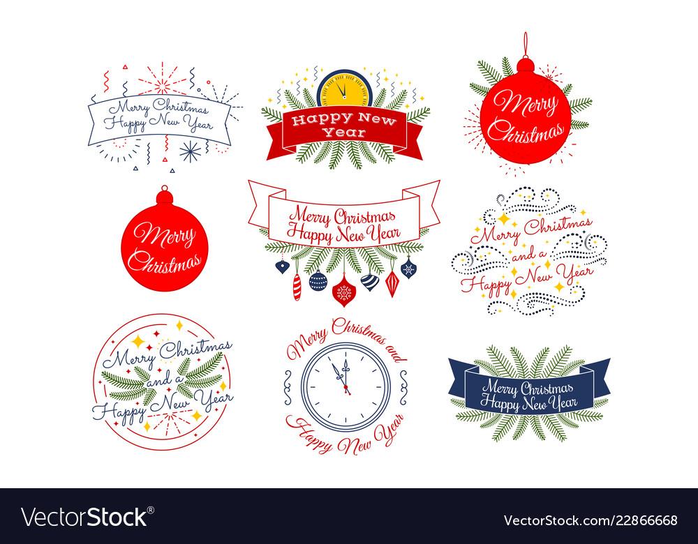 Merry christmas happy new year typographic