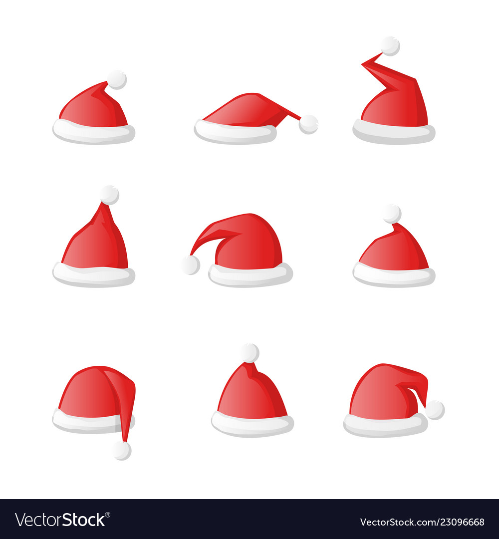 Santa claus hat set icon isolated on a white