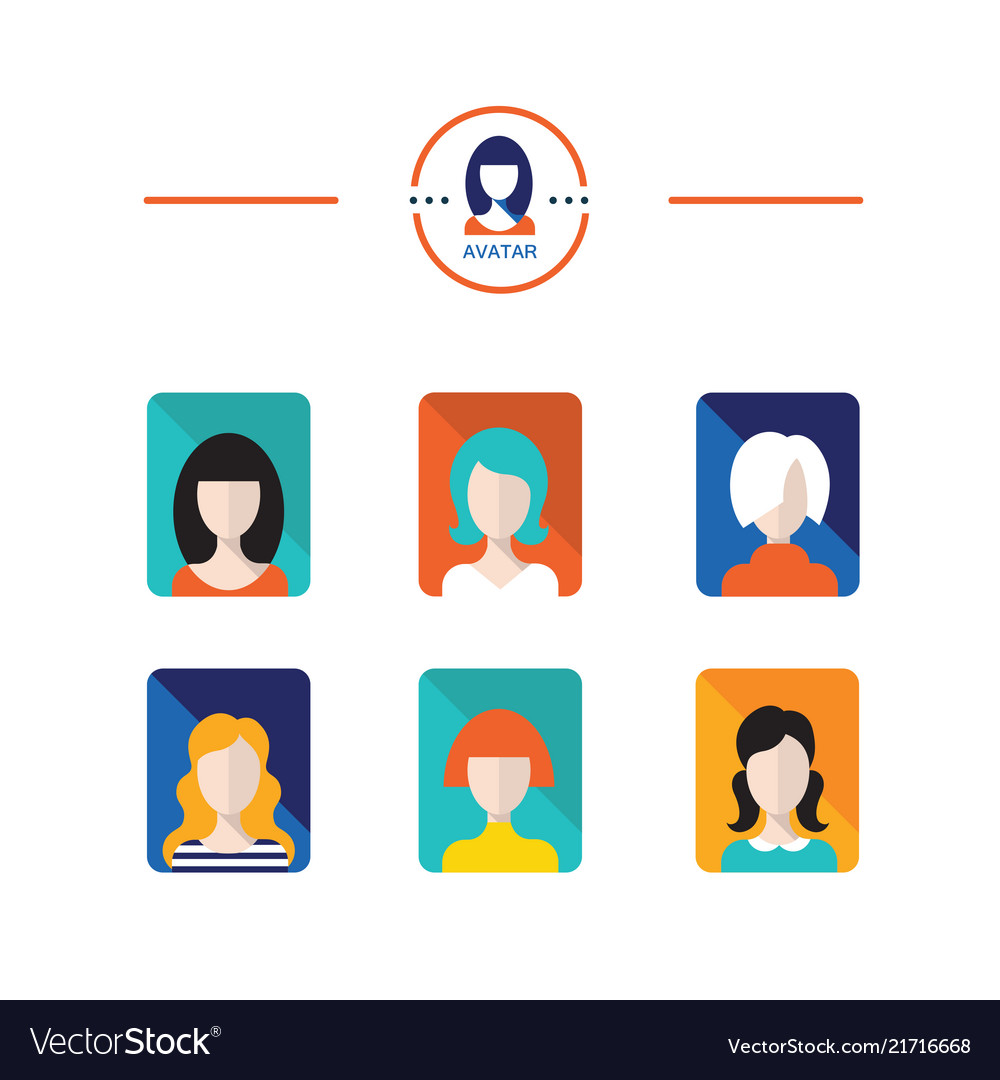 Set of avatar flat design icons woman and girl